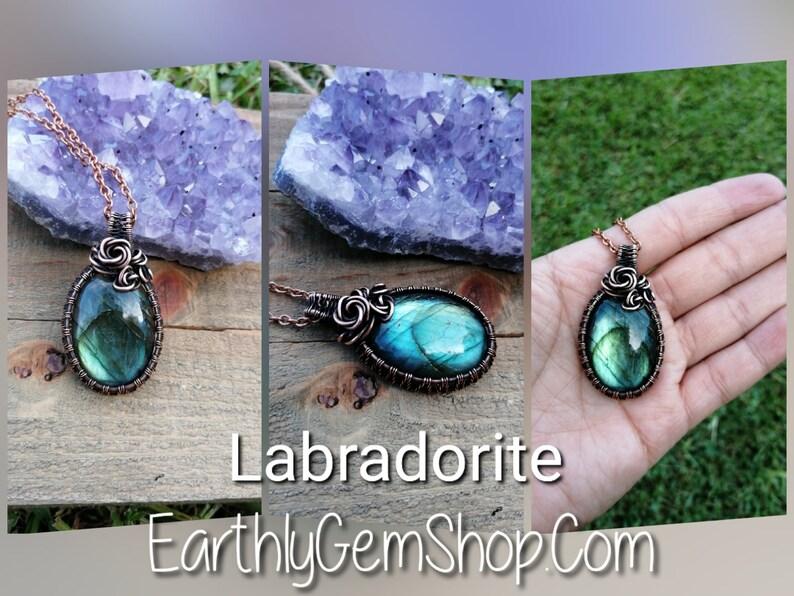 Labradorite Pendant. Green Labradorite. Wire Wrapped Flower. image 0