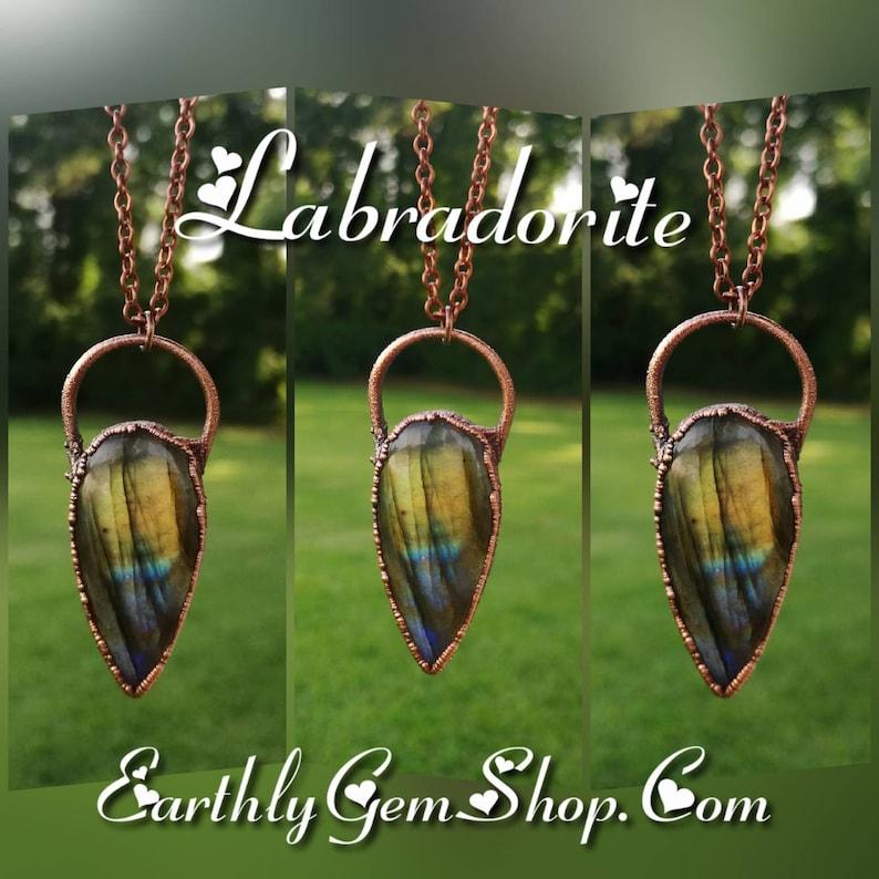 Labradorite Copper Electroformed Pendant image 0