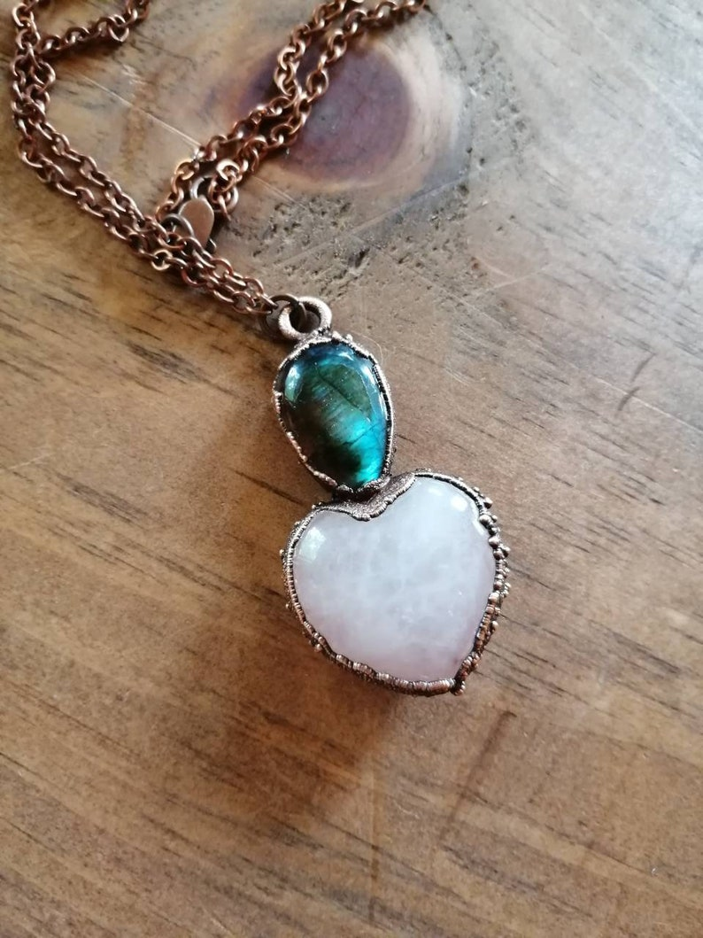 Heart Pendant  Rose Quartz Heart Glowing Labradorite Pendant image 0