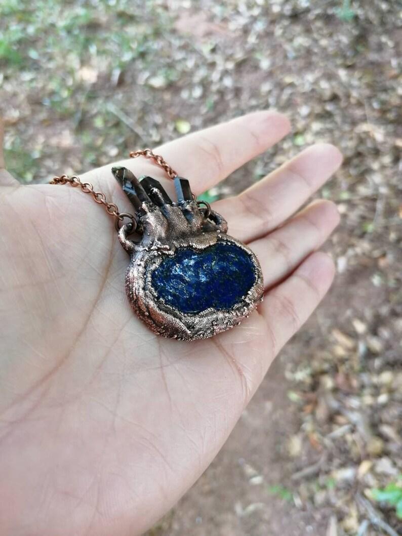 Lapis Lazuli with Smoky Quartz Points Pendant Copper Electroformed Jewelry