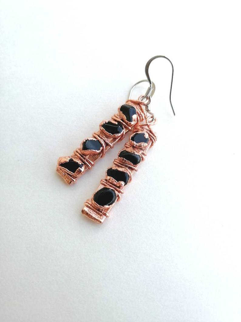 Black Obsidian Earrings  Copper Gemstone Earrings  image 0