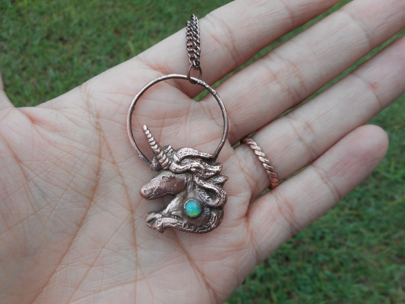 Unicorn Jewelry  Opal Jewelry  Unicorn Necklace Opal Stone image 0