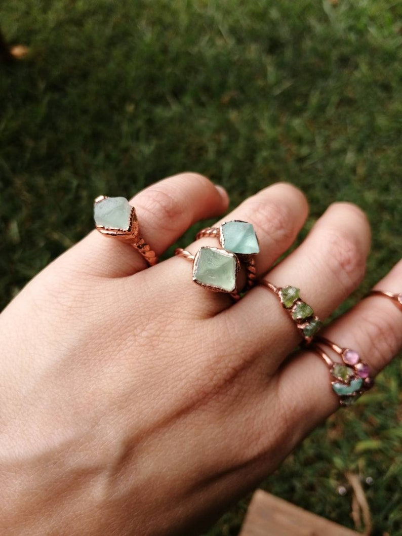 Raw Fluorite Ring  Raw Green Octahedron Stone  Fluorite image 0