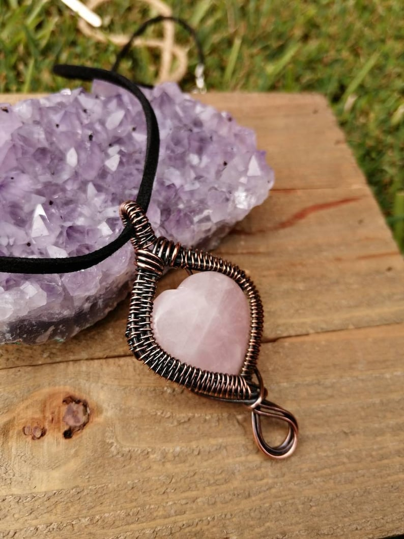 Heart Necklace  Mother's Day Gift  Rose Quartz Heart Style Two