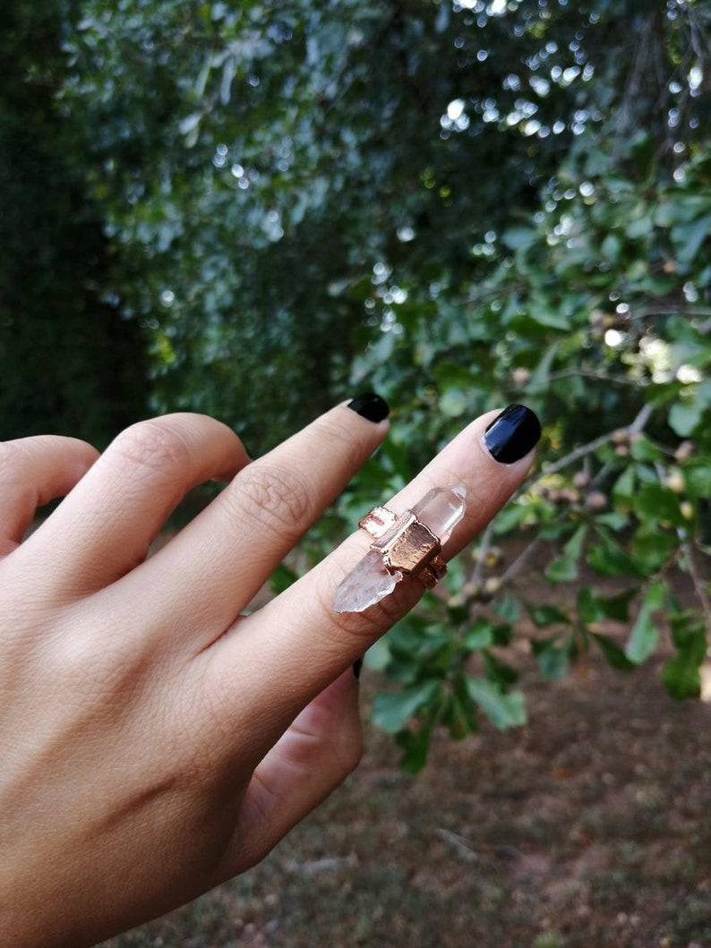Raw Quartz Point Ring Electroformed Ring image 0