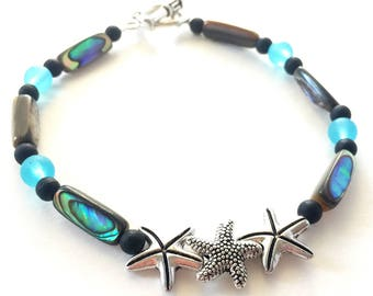 Starfish Anklet / Turquoise Anklet / Bohemian Anklet / Cute Anklet / Natural Anklet / Gypsy Boho Anklet / Pretty Anklet / Starfish Wedding