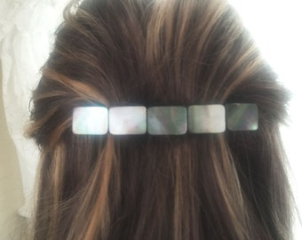 Tahitian Gray Shell LARGE Barrette | Silver Hair Barrette | Hair Accessories | Large Hair Barrette | Hair Barrette | French Barrette