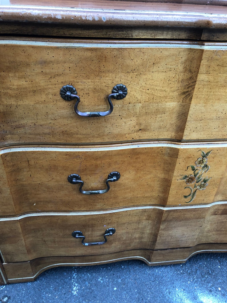 PAINTED TO ORDER Low Three Drawer Dresser With Jewelry Drawer Chest French Provincial Solid Wood Vintage Dresser