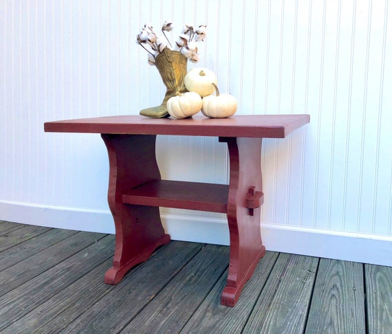 Incredible Brick Red End Table Rustic Farmhouse Primitive Side Table Annie Sloan Chalk Paint Primer Red Forskolin Free Trial Chair Design Images Forskolin Free Trialorg