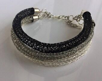Double viking knit wire tricolour bracelet