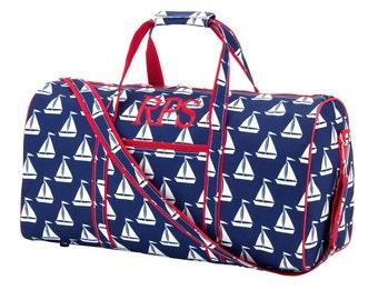 Sailboat Duffel Bag | Embroidered Duffel Bag | Boys Duffel Bag | Birthday Gift | Baby Shower Gift | Gift for Boys or Girls | Mens Bag