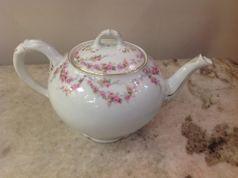 Royal Schwarzburg China RSC15 Teapot Pink Rose Garland Design c.1915