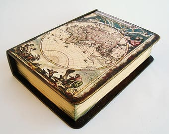 Antique World Map, Old Vintage Map, Decorative map box, World map, Vintage look, Table decor, Old world map, Desk organizer, Storage box