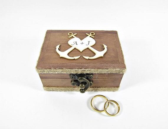Personalized Wedding Ring Box Anchor Wedding Box Box Anchor Etsy