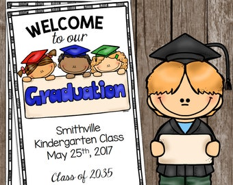 Graduation Program - EDITABLE - Kindergarten - Preschool - PreK - Pre-K - Graduation Ceremony - Invitation - Announcement