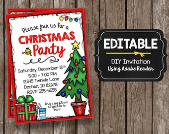 Christmas Party Invitation - EDITABLE - DIY Printable PDF - Kids - Church - School - Birthday - Instant Download - Holiday Get Together