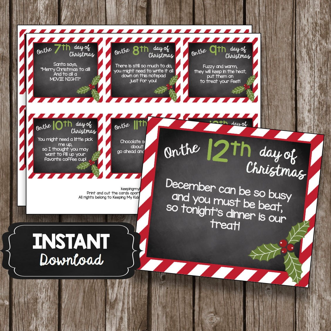 Gift Ideas For The 12 Days Of Christmas: 12 Days Of Christmas TEACHER Cards Printable DIY Gift