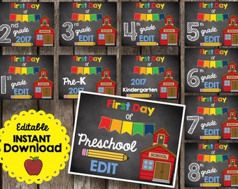 50% OFF SALE First Day of School Sign - Chalkboard Poster - All Grades - Printable PDF - Editable - Instant Download - Preschool - PreK