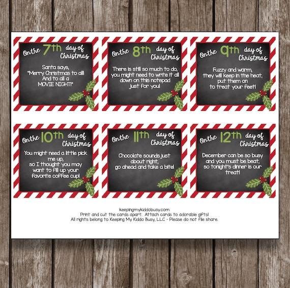 50 - 12 Days Of Christmas TEACHER Cards Printable DIY Gift Etsy