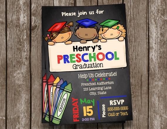 Graduation invitation preschool chalkboard custom etsy image 0 filmwisefo