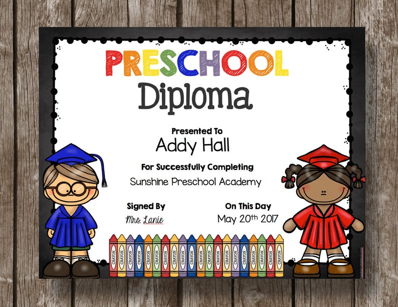 picture regarding Printable Preschool Diplomas named 50% OFF SALE - Preschool Degree - Commencement - Printable - Editable - Fast Obtain - Clroom -Trainer - Chalkboard