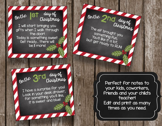 Twelve Days Of Christmas Notes.12 Days Of Christmas Editable Cards 12 Days Of Christmas Gift Tags Diy Printable Instant Download Pdf Teacher Kids Gifts