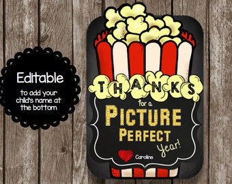 50% OFF SALE - Teacher Thank You Card - Instant Download - Chalkboard - Printable PDF - Movie - Popcorn