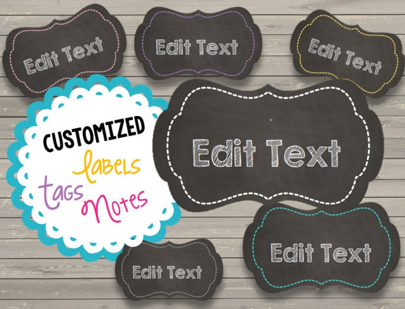 CUSTOM Chalkboard Labels - Notes - Tags - Cards - Personalized - Printable  PDF - Organize - Kitchen - Classroom - Art Supplies
