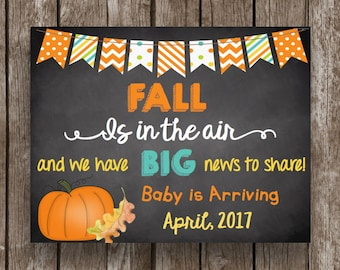 50% OFF SALE - Pregnancy Announcement - Fall Is In The Air - Chalkboard - Instant Download - Editable - PDF - Printable Sign