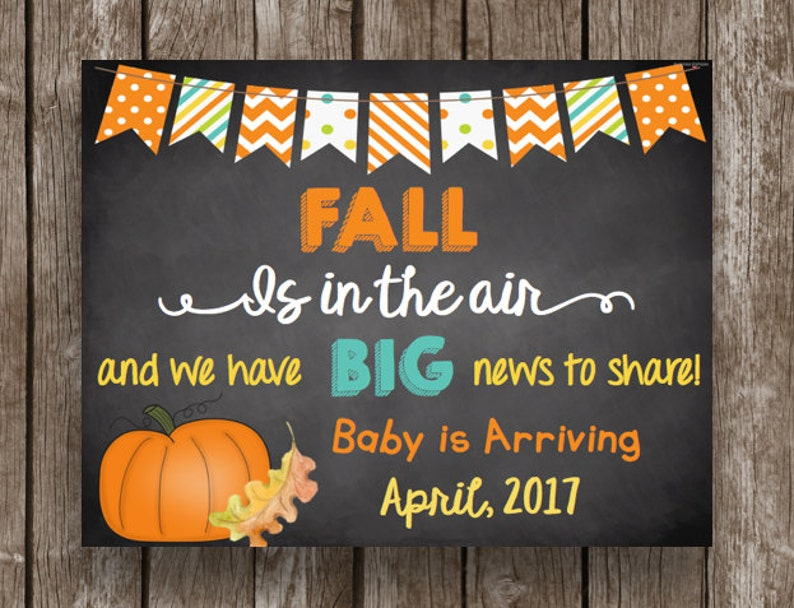 Fall Is In The Air Instant Download Pregnancy Announcement Chalkboard Printable Sign Editable PDF 50/% OFF SALE