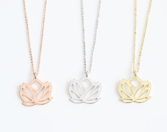 Lotus Necklace, Dainty Flower Necklace, Lotus Pendant Necklace, Yoga Jewelry, Bohemian Jewelry, Yoga Gifts, Girlfriend Gift, Gift For Her