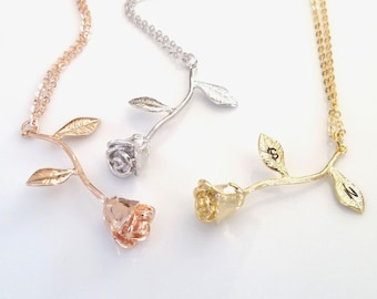 Rose Necklace, Rose Gold Necklace, Beauty And The Beast Jewelry, Initial Leaf, Personalized Rose Necklace, Gift For Mom, Mothers Necklace