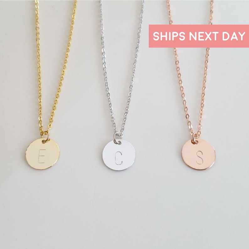Disc Initial Necklace Dainty Disc Necklace Gold Initial image 0