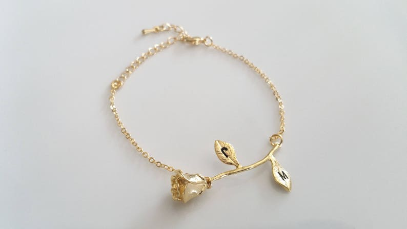 Rose Bracelet Charm Initial Beauty And The Beast Jewelry Best Friend Gift Low Price Jewelry & Watches