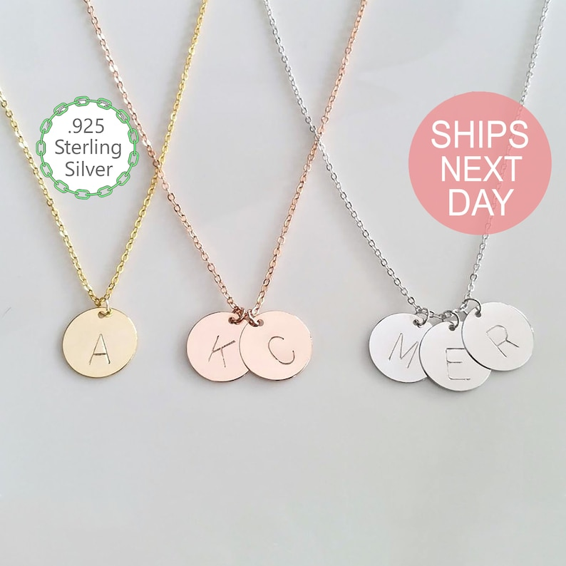 10ff189d63487 Sterling Silver Disc Necklace Silver Initial Necklace Personalized Gift  Simple Silver Gold Rose Gold Coin Necklace Circle Charm -SD12
