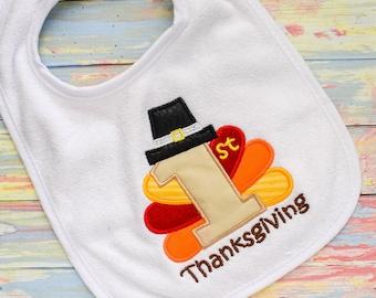 Unisex Gift Fall Bib Holiday Bib Baby Shower Gift Baby Gift Thanksgiving Embroidered Bib Boy Bib Girl Bib First Thanksgiving