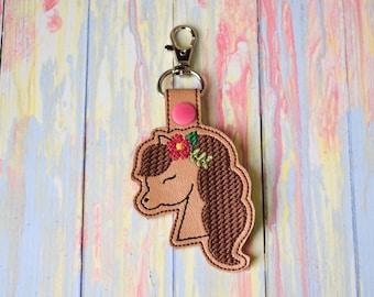 Horse Keychain, Flower, Gift, Gift for Her
