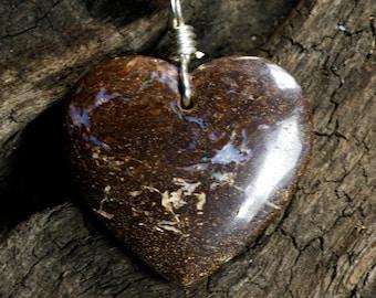 Lovely Boulder Opal Heart Pendant on Sterling Silver Necklace