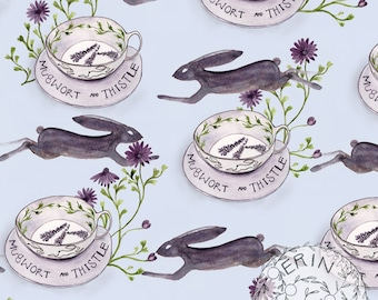 Instant Download, Digital Scrapbook Paper, Collage Sheet, Mixed Media, Junk Journal, JPG, Hares, Rabbits, Tea, Teacup, floral,