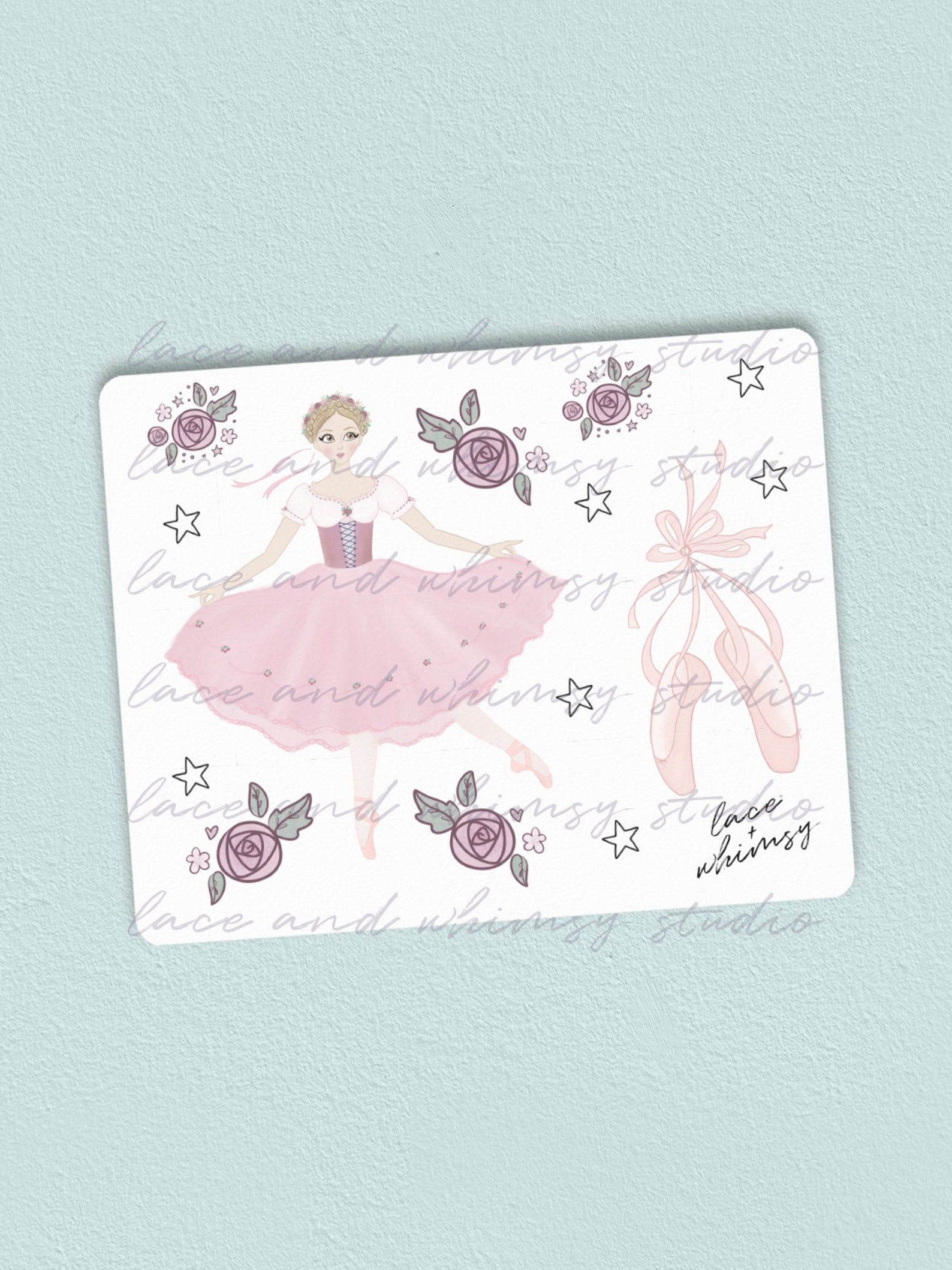 coppelia ballet; ballerina; pointe shoes; ballet shoes; pink stickers; kiss-cut decorative illustrated stickers for planners & j