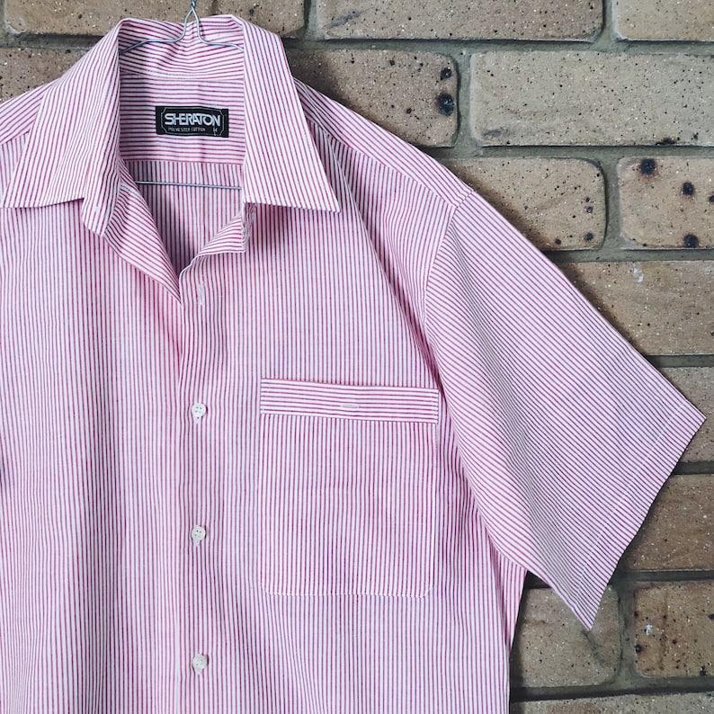 33ab6ff7 70s striped grandpa shirt mens retro short sleeve button up   Etsy
