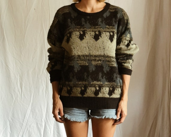 Vintage Oversized Knit Jumper Unisex Ladies Mens Slouchy Etsy
