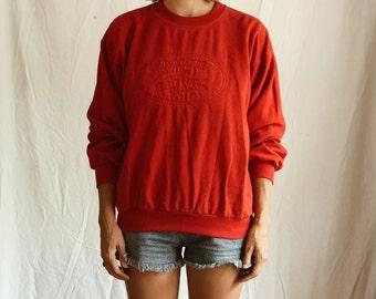 Vintage 80s Lacoste sweatshirt - unisex ladies mens oversized slouchy cotton jumper sweater - red logo - retro sportswear pullover