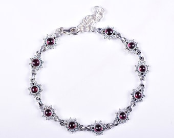 Red Garnet Bracelet Silver Garnet Bracelet Garnet Jewelry Natural Garnet Gemstone Bracelet 925 Garnet Bracelet Sterling Silver Red Bracelet