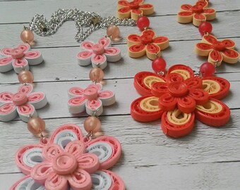 1st anniversary gift, paper quilling necklaces, neklace, neklaces, jewelry,red flower, romantic gifts, gift for women, accessories