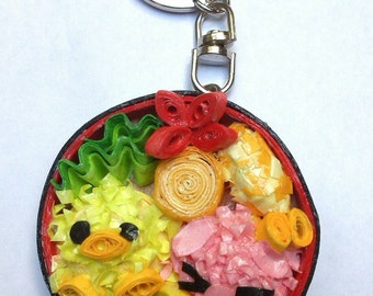 Custom keychain,  birthday kids,  gift for kids,  paper quilling,  paper gift,  personalized keychain