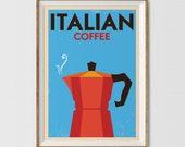 Cucina Sign of Italian Espresso Coffee Poster, Moka Pot, European Restaurant Decor, Coffee Shop Wall Art