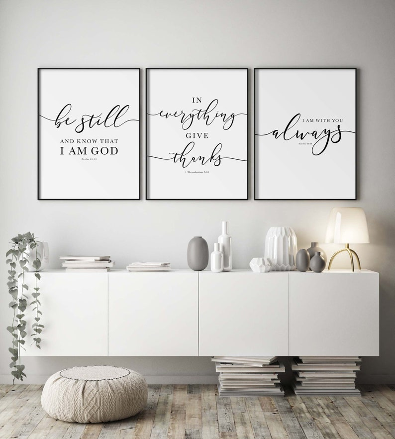 Bible Verse Wall Art Gallery Set of 3 Prints Be Still In image 0