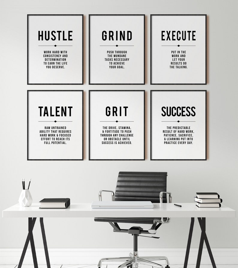 Hustle Quote Grind Definition Office Wall Art Gallery Set image 0