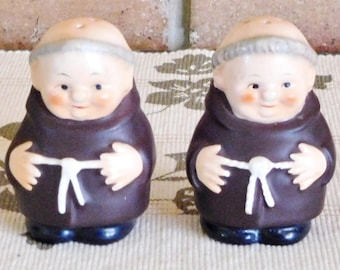 Goebel Hummel Friar Tuck Capuchin monk salt or pepper condiments pair 1960s vintage